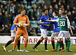 19.12.2018 Hibs v Rangers: Connor Goldson not happy