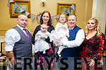 Baby Eabha Barry with her parents Breda & Pat Barry, Listowel and sister Leaoise and god parents Paddy Barry & Linda Barry who was christened in St. Mary's Church, Listowel by Canon Declan O'Connor on Saturday last and afterwards at the Listowel Arms Hotel.