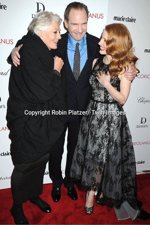 "Vanessa Redgrave, Ralph Fiennes and Jessica Chastain arrive for the New York Premiere of ""Coriolanus"" on January 17, 2012 at The Paris Theatre in New York City. The movie stars Vanessa Redgrave, Ralph Fiennes and Jessica Chastain."