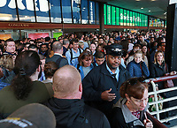 (10/12/2017- Boston, MA) Commuter rail passengers and a conductor are delayed at South Station.  According to a report,  Keolis has a bad track record when it comes to broken down trains. Thursday, October 12, 2017. Staff Photo by Matt West  Kate Kelley of Walpole