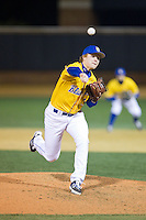 Delaware Blue Hens relief pitcher Andrew Pechstein (36) in action against the Wake Forest Demon Deacons at Wake Forest Baseball Park on February 13, 2015 in Winston-Salem, North Carolina.  The Demon Deacons defeated the Blue Hens 3-2.  (Brian Westerholt/Four Seam Images)