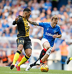 25.07.2019 Rangers v Progres Niederkorn: Aldin Skenderovic and Scott Arfield