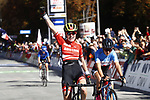 Laura Stigger (AUT) wins the Women Junior Road Race of the 2018 UCI Road World Championships running 71.7km from Wattens to Innsbruck, Innsbruck-Tirol, Austria 2018. 27th September 2018.<br /> Picture: Innsbruck-Tirol 2018/BettiniPhoto | Cyclefile<br /> <br /> <br /> All photos usage must carry mandatory copyright credit (&copy; Cyclefile | Innsbruck-Tirol 2018/BettiniPhoto)
