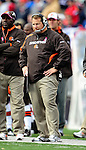 11 October 2009: Cleveland Browns' head coach Eric Mangini watches the play from the bench during a game against the Buffalo Bills at Ralph Wilson Stadium in Orchard Park, New York. The Browns defeated the Bills 6-3 for Cleveland's first win of the season...Mandatory Photo Credit: Ed Wolfstein Photo