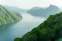 Lake Lugano and Monte San Salvatore from Brè Paese, Ticino, Switzerland, may 2013.