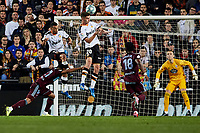1st February 2020; Mestalla, Valencia, Spain; La Liga Football,Valencia versus Celta Vigo; Ferran Torres of Valencia CF heads  a cross as Joseph Aidoo and Jeison Murillo of Celta, Francis Coquelin of Valencia CF and Goal Keeper Ruben Blanco of Celta challenge