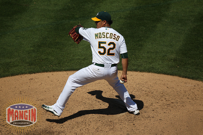 OAKLAND, CA - SEPTEMBER 7:  Guillermo Moscoso #52 of the Oakland Athletics pitches against the Kansas City Royals during the game at O.co Coliseum on September 7, 2011 in Oakland, California. Photo by Brad Mangin