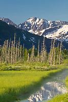 Mountain landscape of the Chugach mountains in the Portage Valley, Kenai Peninsula, Alaska