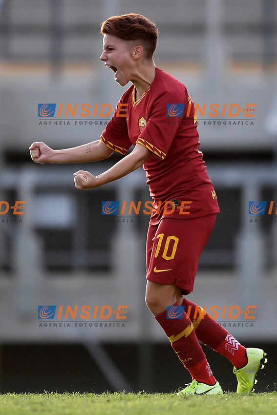 Manuela Giugliano of AS Roma celebrates after scoring a penalty <br /> Roma 8/9/2019 Stadio Tre Fontane <br /> Luisa Petrucci Trophy 2019<br /> AS Roma - Paris Saint Germain<br /> Photo Andrea Staccioli / Insidefoto