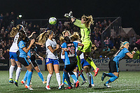 Allston, MA - Saturday, May 07, 2016: Chicago Red Stars goalkeeper Alyssa Naeher (1) clears the ball during a regular season National Women's Soccer League (NWSL) match at Jordan Field.