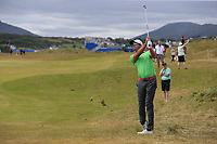 Alexander Bjork (SWE) plays his 2nd shot on the 1st hole during Saturday's Round 3 of the 2018 Dubai Duty Free Irish Open, held at Ballyliffin Golf Club, Ireland. 7th July 2018.<br /> Picture: Eoin Clarke | Golffile<br /> <br /> <br /> All photos usage must carry mandatory copyright credit (&copy; Golffile | Eoin Clarke)