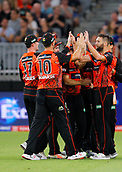 3rd February 2019, Optus Stadium, Perth, Australia; Australian Big Bash Cricket League, Perth Scorchers versus Melbourne Stars; Perth Scorchers players celebrate the wicket of Glenn Maxwell