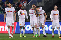 Harrison, NJ - Thursday March 01, 2018: Sean Davis celebrates scoring, Daniel Royer. The New York Red Bulls defeated C.D. Olimpia 2-0 (3-1 on aggregate) during a 2018 CONCACAF Champions League Round of 16 match at Red Bull Arena.