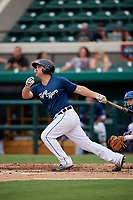 Lakeland Flying Tigers designated hitter Joey Pankake (9) follows through on a swing during the first game of a doubleheader against the St. Lucie Mets on June 10, 2017 at Joker Marchant Stadium in Lakeland, Florida.  Lakeland defeated St. Lucie 6-5 in fourteen innings.  (Mike Janes/Four Seam Images)
