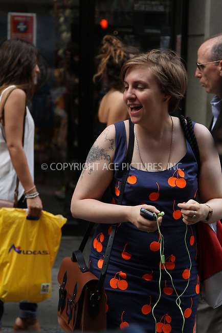 WWW.ACEPIXS.COM<br /> <br /> June 25 2013, New York City<br /> <br /> Lena Dunham on the set of the tv show 'Girls' on June 25 2013 in New York City<br /> <br /> By Line: Zelig Shaul/ACE Pictures<br /> <br /> <br /> ACE Pictures, Inc.<br /> tel: 646 769 0430<br /> Email: info@acepixs.com<br /> www.acepixs.com