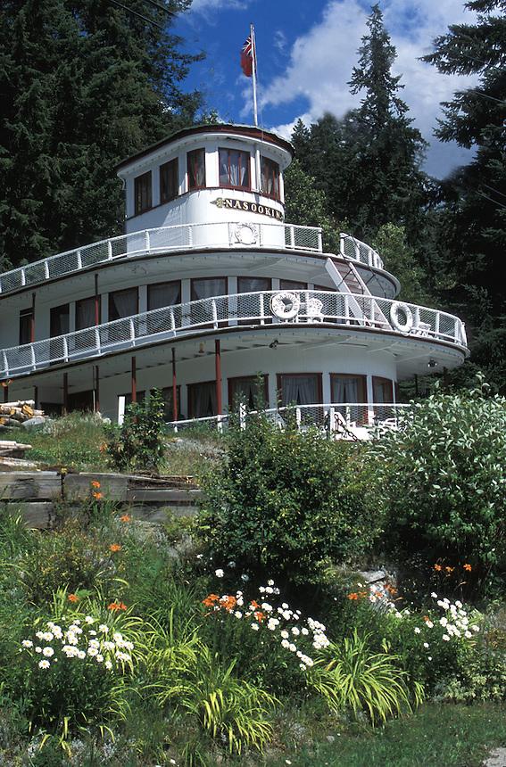 SS Nasookin. Kootenay Lake paddlewheeler turned into a home, just east of Nelson, BC