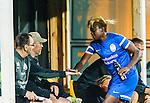 Solna 2015-08-31 Fotboll Damallsvenskan AIK - Eskilstuna United :  <br /> Eskilstunas Gaelle Enganamouit gratuleras vid avbytarb&auml;nken efter att ha blivit utbytt under den andra halvleken av matchen mellan AIK och Eskilstuna United <br /> (Foto: Kenta J&ouml;nsson) Nyckelord:  Damallsvenskan Allsvenskan Dam Damer Damfotboll Skytteholm Skytteholms IP AIK Gnaget Eskilstuna United jubel gl&auml;dje lycka glad happy