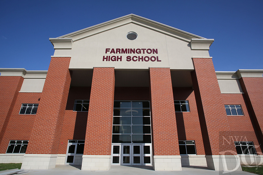 NWA Democrat-Gazette/DAVID GOTTSCHALK   The entrance to the new Farmington High School Friday, July 14, 2017, in Farmington. Classes will be begin at the new school this August.