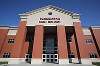 NWA Democrat-Gazette/DAVID GOTTSCHALK   The entrance to the new Farmington High School Friday, July 14, 2017, in Farmington. Classes will be begin at the new school this August.