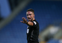 Referee James Adcock during the The Checkatrade Trophy match between Oxford United and Exeter City at the Kassam Stadium, Oxford, England on 30 August 2016. Photo by Andy Rowland / PRiME Media Images.