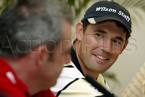 16 November 2005: Irish golfer Padraig Harrington gives a press conference before the start of the 2005 World Golf Championships, Victoria Clube de Golfe, Vilamoura, Portugal. Photo: Glyn Kirk/Actionplus....051116  portrait man men.