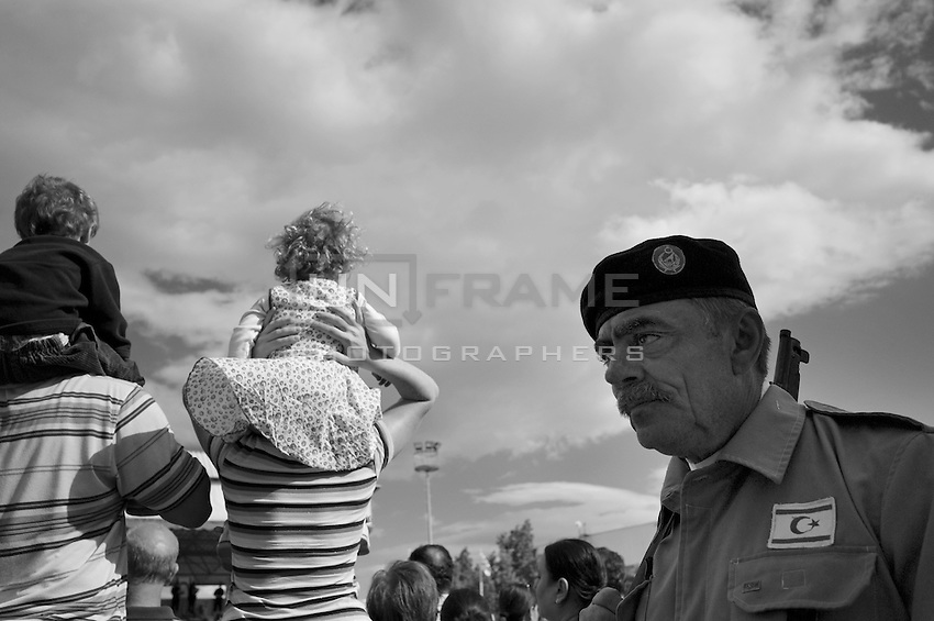 A Turkish Cypriot veteran soldier taking part in a parade to celebrate Turkish Republic day