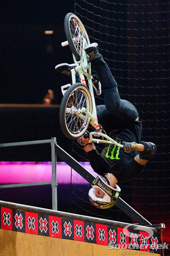 Jamie Bestwick competes in the BMX Freestyle Vert Final at Nokia Theatre in Los Angeles, California. Bestwick placed first in the event and will take home the gold medal.