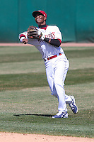 Wisconsin Timber Rattlers shortstop Luis Aviles (6) throws to first base during a game against the Cedar Rapids Kernels on April 23rd, 2015 at Fox Cities Stadium in Appleton, Wisconsin.  Cedar Rapids defeated Wisconsin 3-0.  (Brad Krause/Four Seam Images)