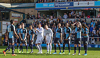 The Players reaction after Gozi Ugwa blasts the ball over  during The Impractical Jokers (Hit US TV Comedy) filming at Wycombe Wanderers FC at Adams Park, High Wycombe, England on 5 April 2016. Photo by Andy Rowland.