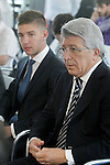 Atletico de Madrid's new player Luciano Vietto (l) with the President Enrique Cerezo during his official presentation. July 9, 2015. (ALTERPHOTOS/Acero)
