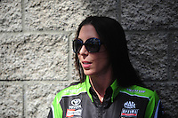 Apr. 1, 2012; Las Vegas, NV, USA: NHRA funny car driver Alexis DeJoria during the Summitracing.com Nationals at The Strip in Las Vegas. Mandatory Credit: Mark J. Rebilas-
