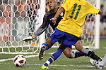 10 AUG 2010: Tim Howard (USA) (1) takes the ball away from Neymar (BRA) (11). The United States Men's National Team lost to the Brazil Men's National Team 0-2 at New Meadowlands Stadium in East Rutherford, New Jersey in an international friendly soccer match.