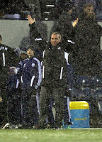 Pictured: Brendan Rodgers manager for Swansea thanking supporters after the end of the game. Saturday, 04 February 2012<br />