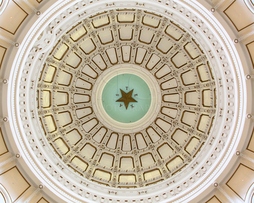 "You have to crank back your head to get this view at the state capitol in Austin, Texas. This perspective looks straight up to the dome - 266 feet high. The Texas Star is 8 feet across and is surrounded by the letters spelling out ""TEXAS."""