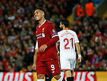 Roberto Firmino of Liverpool reacts after missing a chance to score during the Champions League Group E match at the Anfield Stadium, Liverpool. Picture date 13th September 2017. Picture credit should read: Simon Bellis/Sportimage