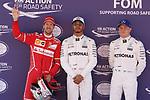 Sebastian Vettel (GER) Ferrari, Lewis Hamilton (GBR) Mercedes AMG F1 and Valtteri Bottas (FIN) Mercedes AMG F1  at Formula 1 World Championship,FIA, Spanish Grand Prix, Qualifying, Barcelona. 13.05.2017