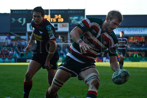 18.10.2010 Ben Croft scores Leicester\'s fifth try.Leicester Tigers vs Scarlets in Pool 5 of Heineken Cup at Welford Road