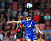 Jefferson Lerma of AFC Bournemouth wins a header from Ben Chilwell of Leicester City during AFC Bournemouth vs Leicester City, Premier League Football at the Vitality Stadium on 15th September 2018