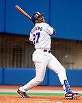 Montreal, Quebec, Canada - 9/14/03 - Montreal Expos star outfielder Vladimir Guerrero watches his triple take shape during his third trip up to the plate. Guerrero went 4 for 4, and hit for the cycle, as the Expos defeated the New York Mets 7-3 at Olympic Stadium. Guerrero is the second Montreal Expo to hit for the cycle this season, as teammate Brad Wilkerson accomplished the feat June 24th against the Pittsburgh Pirates at Olympic Stadium. Mandatory Credit: Ed Wolfstein Photo