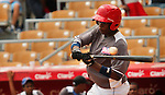 "Major League Baseball prospect Juan Elias strikes out  during the final game of the ""Torneo Supremo"" at the Quiskeya National Stadium in Santo Domingo. The Tournament which aims to maximize the ability of Major League Baseball organizations to scout in the Dominican Republic. According to the MLB's office in the Dominican Republic, this year, the tournament introduced 23 new baseball prospects. July 29 2011. ViewPress/ Kena Betancur"