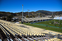 A general view from the temporary seating during the Rugby Championship Argentina Pumas captain's run at Trafalgar Park in Nelson, New Zealand on Friday, 7 September 2018. Photo: Dave Lintott / lintottphoto.co.nz