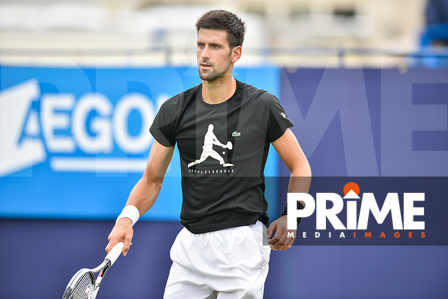 Novak Djokovic on the practice courts during the Aegon International Eastbourne tennis tournament at Devonshire Park, Eastbourne, England on 24 June 2017. Photo by Edward Thomas/PRiME Media Images.