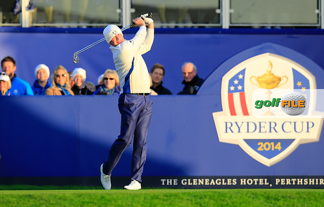 Jamie Donaldson (EUR) warms up on the 1st tee to start his match during Saturday Mornings Fourball Matches  of the Ryder Cup 2014 played on the PGA Centenary Course at the Gleneagles Hotel, Auchterarder, Scotland.: Picture Eoin Clarke www.golffile.ie: 27th September 2014