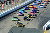 July 16, 2017 - Loudon, New Hampshire, U.S. - Martin Truex Jr, Monster Energy NASCAR Cup Series driver of the Wix Filters Toyota (78), leads the pack into turn 1 at the NASCAR Monster Energy Overton's 301 race held at the New Hampshire Motor Speedway in Loudon, New Hampshire. Eric Canha/CSM