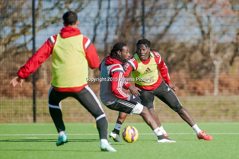 SWANSEA, WALES - FEBRUARY 17: Marvin Emnes of Swansea City  and Bafetibis Gomis of Swansea City   in action during a training session at the Fairwood training ground on February 17, 2015 in Swansea, Wales.  (Photo by Athena Pictures )