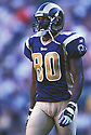 St. Louis Rams, Isaac Bruce (80)  during a game from his 2001 season. Isaac Bruce played for 16 years with 2 different teams and was a 4-time Pro Bowler.