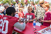 STANFORD, CA -- April 14, 2018. <br /> Bryce Love with fans after 2018 Stanford Spring Football game Saturday afternoon at the Laird Q. Cagan Stadium.