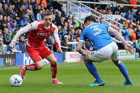 Fleetwood Town's Ashley Hunter takes on Peterborough United's Andrew Hughes<br /> <br /> Photographer David Shipman/CameraSport<br /> <br /> The EFL Sky Bet League One - Peterborough United v Fleetwood Town - Friday 14th April 2016 - ABAX Stadium  - Peterborough<br /> <br /> World Copyright &copy; 2017 CameraSport. All rights reserved. 43 Linden Ave. Countesthorpe. Leicester. England. LE8 5PG - Tel: +44 (0) 116 277 4147 - admin@camerasport.com - www.camerasport.com