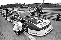 Sam Posey speaks with co-driver Paul Newman about their Datsun 280ZX Turbo before practice for the Camel GT IMSA race at Road America near Elkhart Lake, Wisconsin, on August 31, 1980. (Photo by Bob Harmeyer)