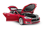 Tesla Model S P85D electric car with open doors and hood isolated on white background with clipping path